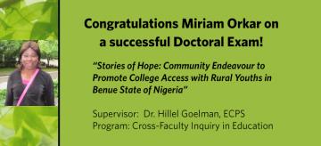 Congratulations CCFI Student, Miriam Orkar, on her successful Doctoral Exam!