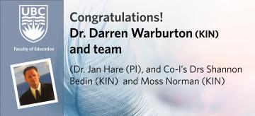 Congratulations Dr. Darren Warburton and team on CIHR Operating Grant