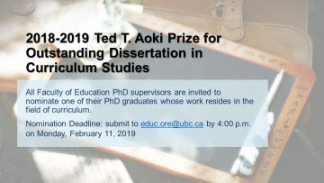 2018-2019 Ted T. Aoki Prize for Outstanding Dissertation in Curriculum Studies