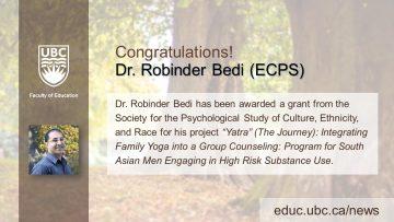 Congratulations Dr. Robinder Bedi!