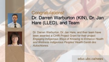 Congratulations Dr. Darren Warburton, Dr. Jan Hare, and Team