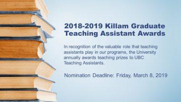 2018-2019 Killam Graduate Teaching Assistant Awards
