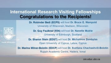 Congratulations to 2019 Faculty of Education International Research Visiting Fellowship Recipients