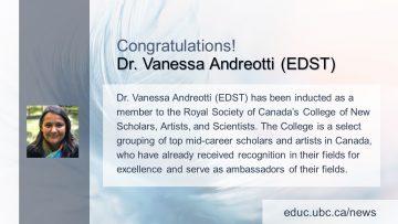 Congratulations! Dr. Vanessa Andreotti (EDST)
