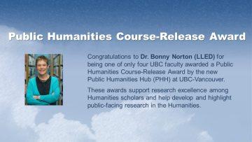 Congratulations Dr. Bonny Norton!