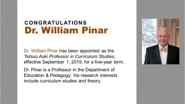 Congratulations Dr. William Pinar!