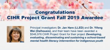 Congratulations CIHR Project Grant Fall 2019 Awardee