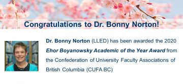 Congratulations to Dr. Bonny Norton!