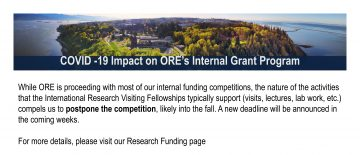 COVID -19 Impact on ORE's Internal Grant Program