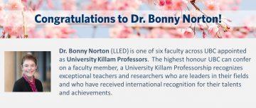 Congratulations to Dr. Bonny Norton!