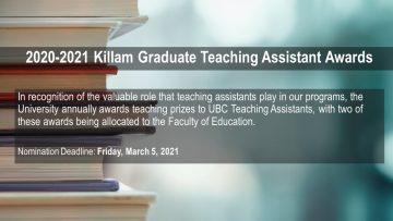 2020-2021 Killam Graduate Teaching Assistant Awards