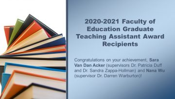 2020-2021 Faculty of Education Graduate Teaching Assistant Award Recipient